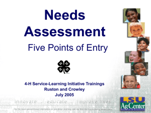 Needs Assessment Five Points of Entry 4-H Service-Learning Initiative Trainings