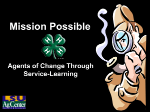 Mission Possible Agents of Change Through Service-Learning