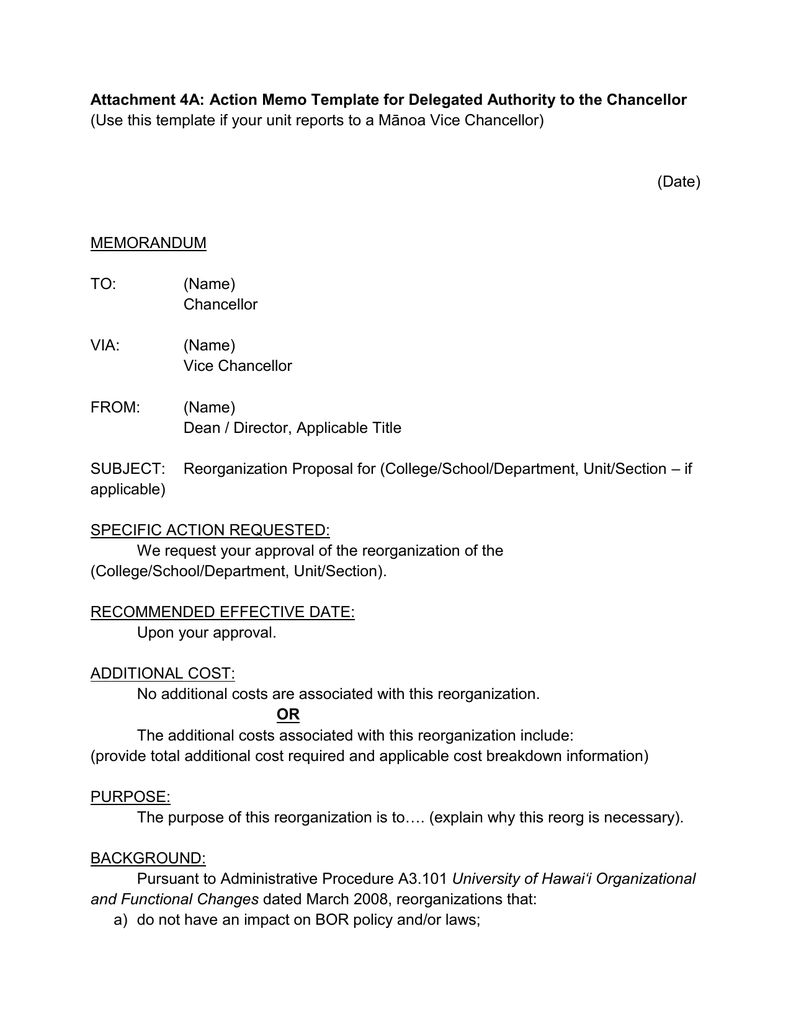 attachment 4a action memo template for delegated authority to the to a mnoa vice chancellor