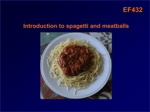 EF432 Introduction to spagetti and meatballs