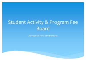 Student Activity & Program Fee Board A Proposal for a Fee Increase