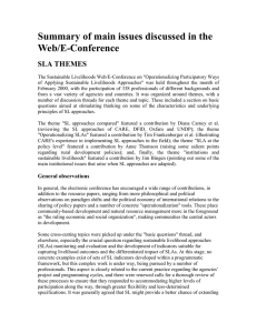 Summary of main issues discussed in the Web/E-Conference SLA THEMES