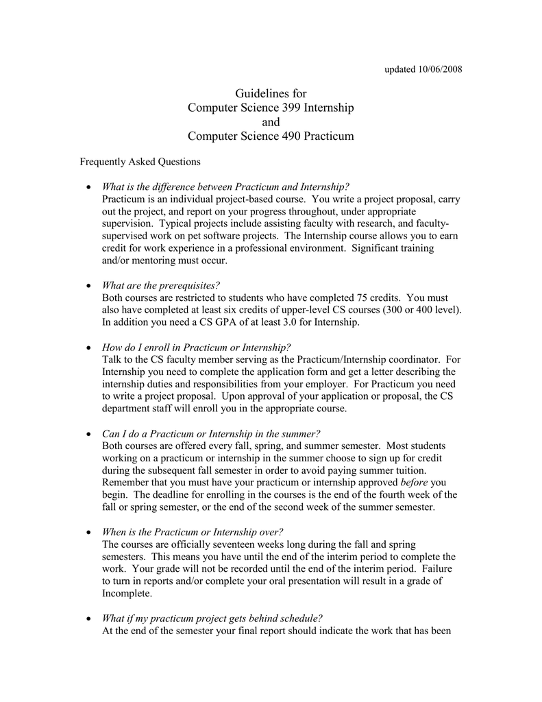 Guidelines for Computer Science 399 Internship and