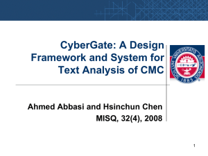 CyberGate: A Design Framework and System for Text Analysis of CMC