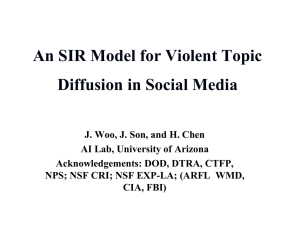 An SIR Model for Violent Topic Diffusion in Social Media
