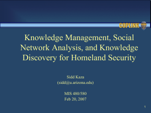 Knowledge Management, Social Network Analysis, and Knowledge Discovery for Homeland Security Sidd Kaza