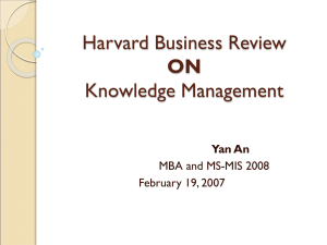 Harvard Business Review Knowledge Management ON Yan An