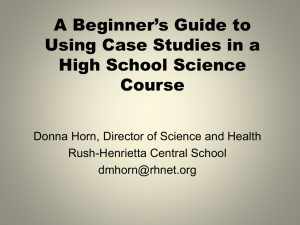 A Beginner's Guide to Using Case Studies in a High School Science Course