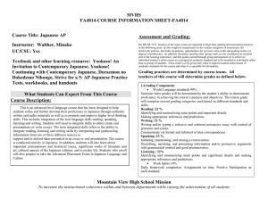 MVHS FA4014-COURSE INFORMATION SHEET-FA4014  Course Title: Japanese AP