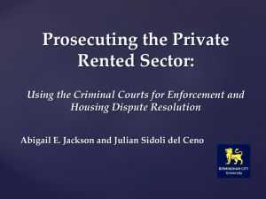 Prosecuting the Private Rented Sector: Using the Criminal Courts for Enforcement and