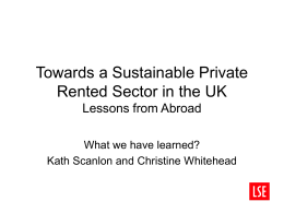 Towards a Sustainable Private Rented Sector in the UK Lessons from Abroad