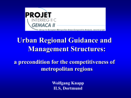 Urban Regional Guidance and Management Structures: a precondition for the competitiveness of