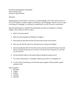 Poetry Analysis Essay Outline Rv Discussing Metaphor And Symbols Winter Quarter  Instructor  Richard Alishio My First Day Of High School Essay also Essay Paper Checker  The Newspaper Essay