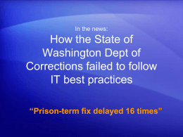 How the State of Washington Dept of Corrections failed to follow