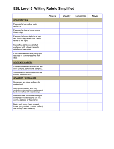 ESL Level 5  Writing Rubric Simplified  Always Usually