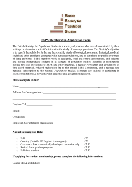 BSPS Membership Application Form