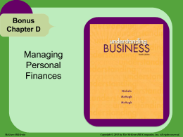 Managing Personal Finances Bonus