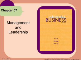 Management and Leadership Chapter 07