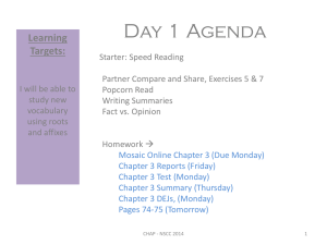 Day 1 Agenda Learning Targets: