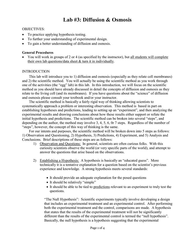 Lab #3: Diffusion & Osmosis