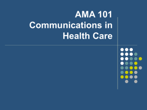 AMA 101 Communications in Health Care