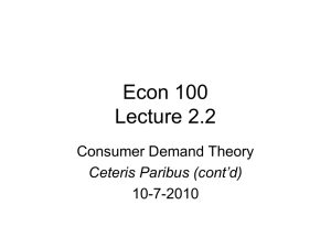 Econ 100 Lecture 2.2 Consumer Demand Theory 10-7-2010