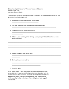 "College Reading Worksheet for ""American Values and Customs"" Spring Quarter 2016"