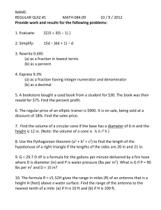 NAME: REGULAR QUIZ #1  MATH 084.09