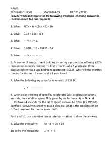 NAME: REGULAR QUIZ #2  MATH 084.09