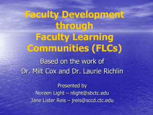Faculty Development through Faculty Learning Communities (FLCs)