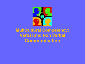 Communication Multicultural Competency: Verbal and Non Verbal