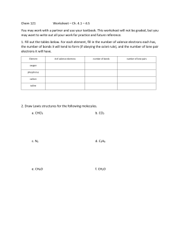 Chem 121  Worksheet – Ch. 4.1 – 4.5