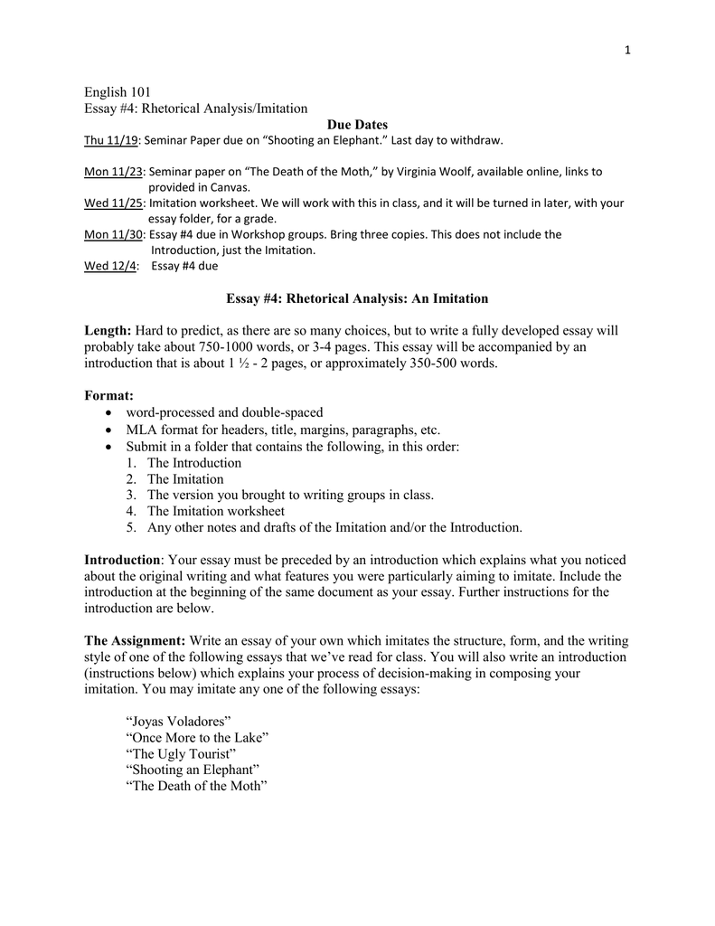 english  essay  rhetorical analysisimitation due dates