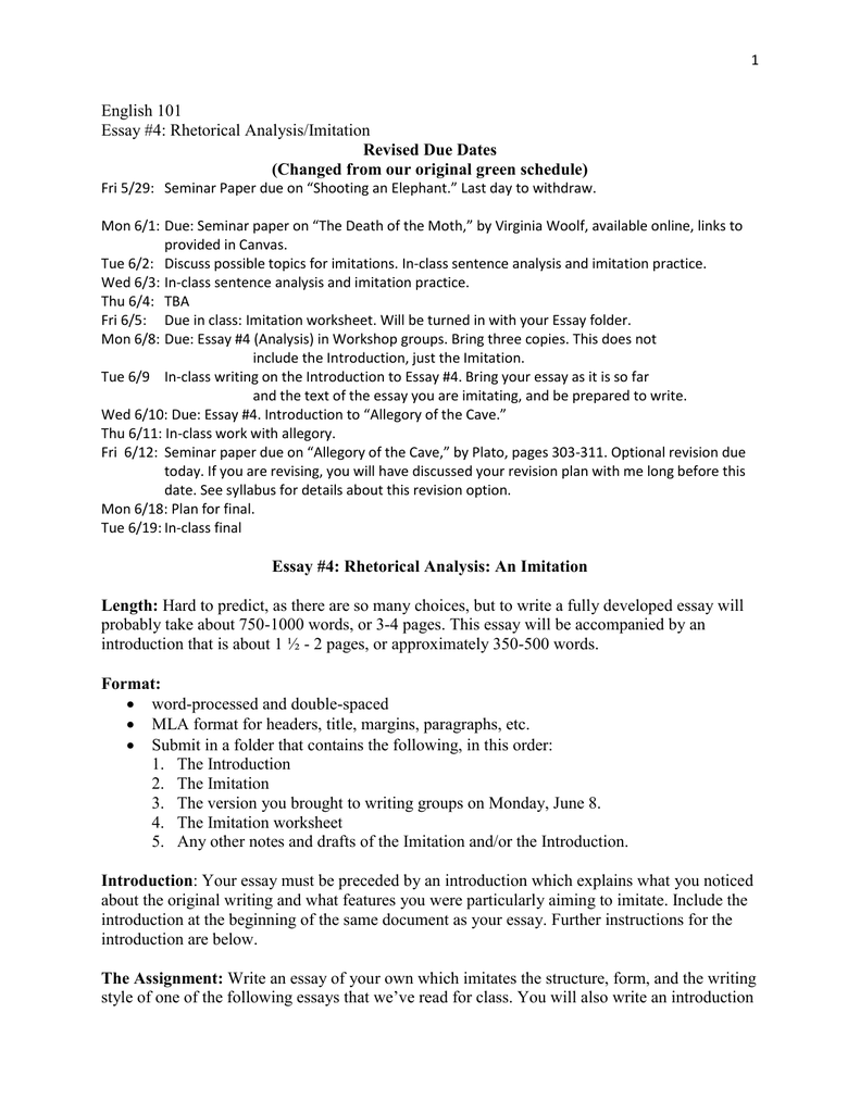 English  Essay  Rhetorical Analysisimitation Revised Due Dates