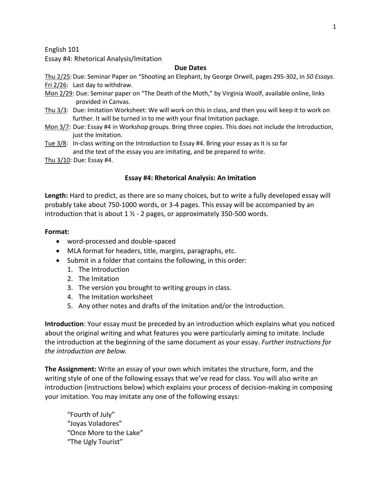 English  Essay  Rhetorical Analysisimitation Due Dates Business Essay Example Health Is Wealth Essay English  Essay  Rhetorical Analysisimitation Due Dates Sample Of English Essay also Research Paper Essays