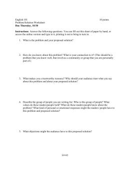 English 101 10 points Problem/Solution Worksheet