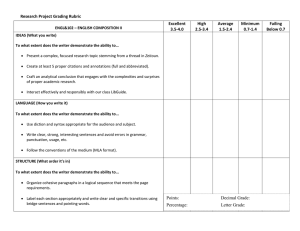 Research Project Grading Rubric Excellent High Average