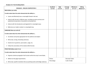 Analysis of a Text Grading Rubric Excellent High Average
