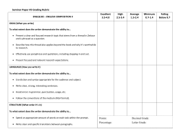 Seminar Paper #3 Grading Rubric Excellent High Average