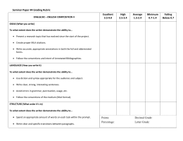 Seminar Paper #4 Grading Rubric Excellent High Average