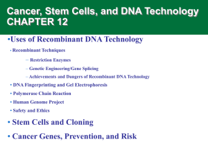 Cancer, Stem Cells, and DNA Technology CHAPTER 12 •