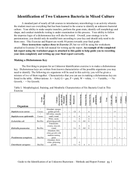 identifying unknown bacteria e faecalis Slant cultures of the following bacteria: alcaligenes faecalis e coli salmonella  which you will use to identify your unknown bacteria in this lab.