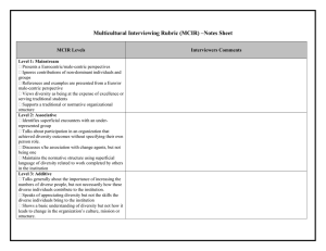 Multicultural Interviewing Rubric (MCIR) –Notes Sheet  MCIR Levels Interviewers Comments