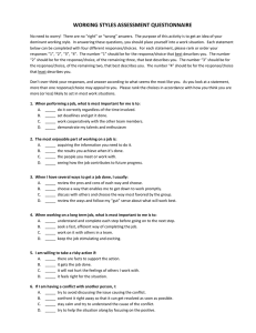 WORKING STYLES ASSESSMENT QUESTIONNAIRE