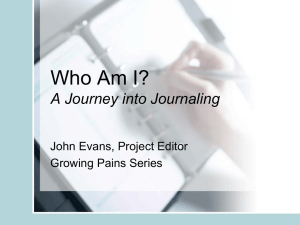 Who Am I? A Journey into Journaling John Evans, Project Editor