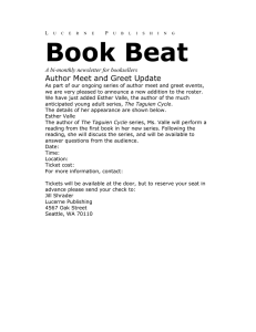 Book Beat Author Meet and Greet Update A bi-monthly newsletter for booksellers