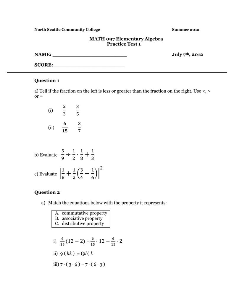 MATH 097 Elementary Algebra Practice Test 1 NAME: