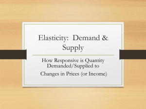 Elasticity:  Demand & Supply How Responsive is Quantity Demanded/Supplied to