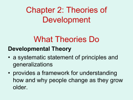Chapter 2: Theories of Development What Theories Do