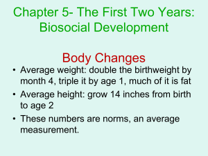 Chapter 5- The First Two Years: Biosocial Development Body Changes